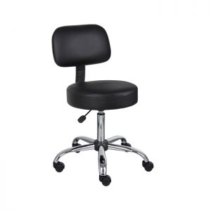 Chrome Rolling Stool with Footrest